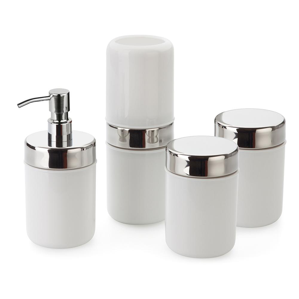 Kit Banheiro Lavabo Acquaset Branco 4 peças Forma