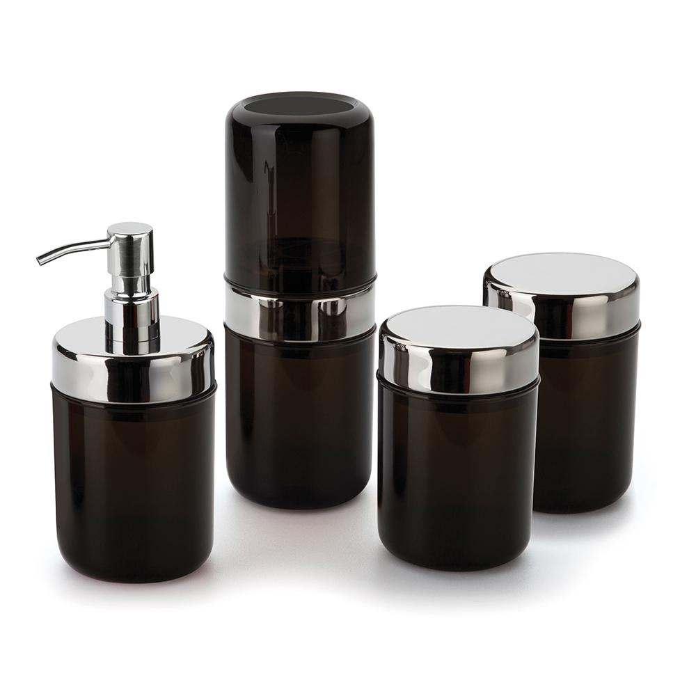 Kit Banheiro Lavabo Acquaset Ônix 4 peças Forma