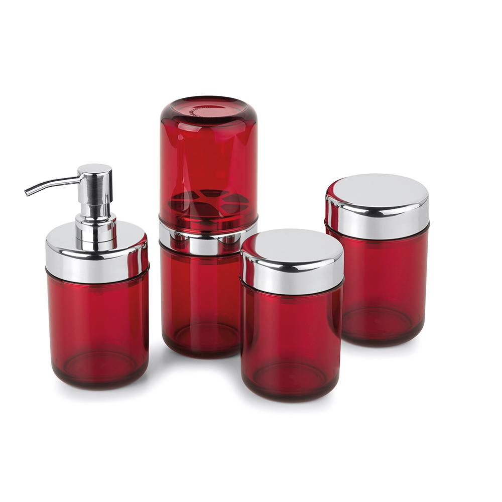Kit Banheiro Lavabo Acquaset Vermelho 4 peças Forma