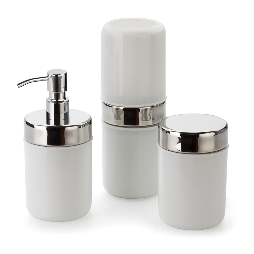 Conjunto p/ Banheiro Lavabo 3 pcs Acquaset Branco Forma