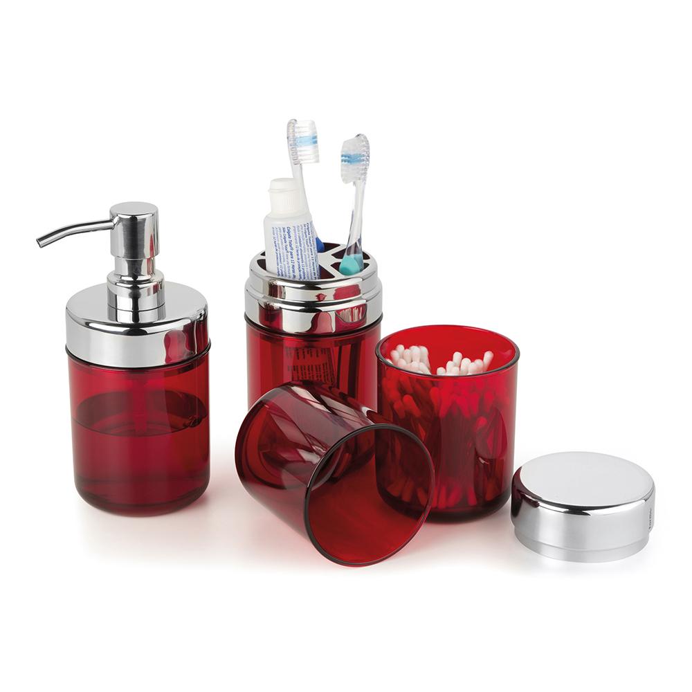 Conjunto p/ Banheiro Lavabo 3 pcs Acquaset Vermelho Forma