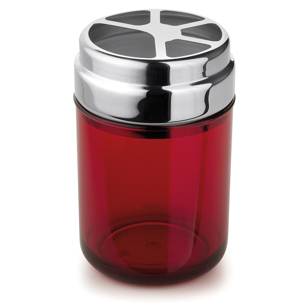 Conjunto com 6 Porta-Escovas Acquaset Vermelho Forma
