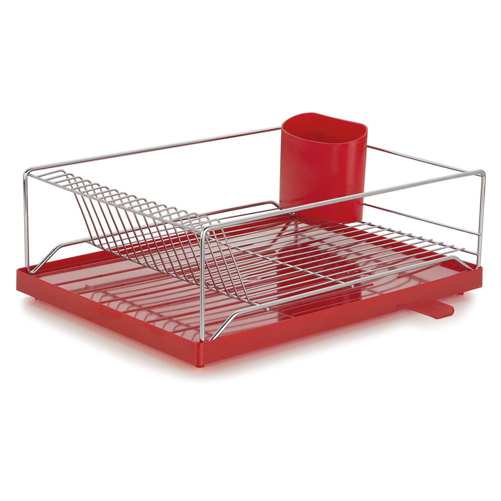 Escorredor com Bandeja 16 Pratos Dry Vermelha 30,5x40,5x15 cm Forma