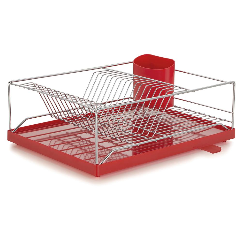 Escorredor com Bandeja 16 Pratos Dry Vermelha 31x41x15cm Forma