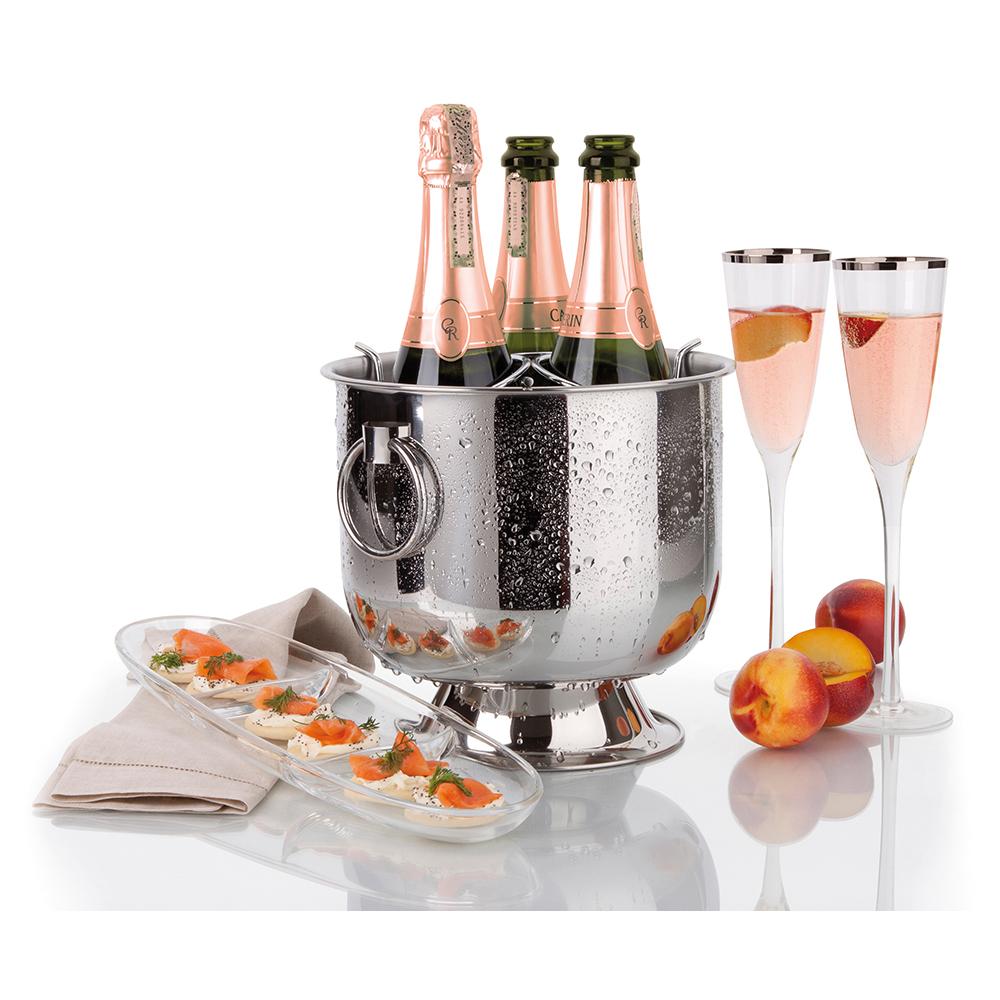 Champagneiras Inox com Base Coletora Alças e Grelha Separadora Destacável 6 Litros Forma