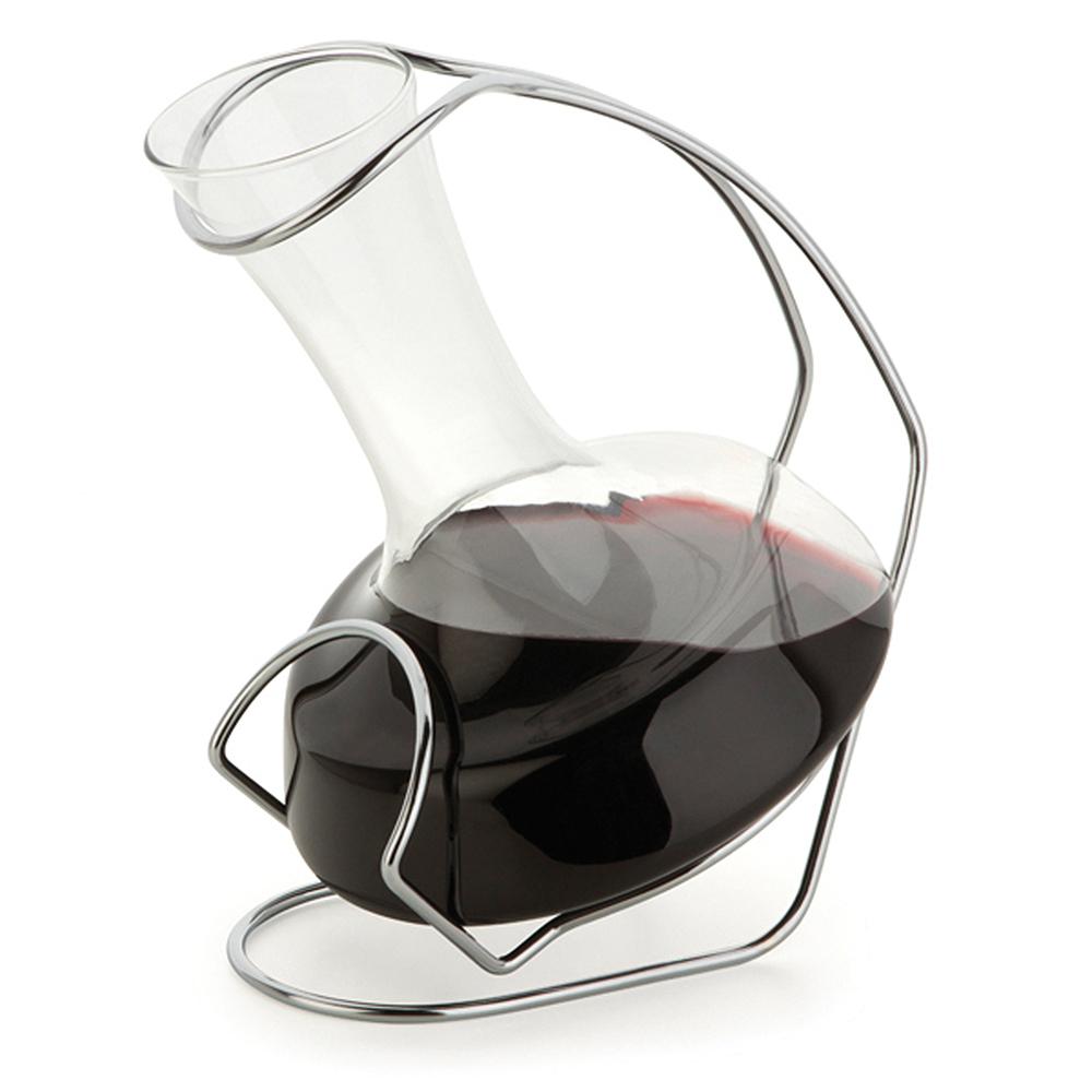Decanter de Vidro para Vinho com Suporte em Aço Cromado 900 ml Forma