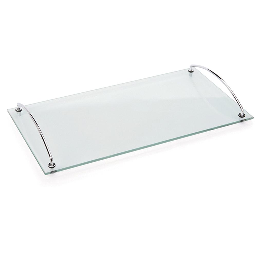 Bandeja Andrea 45x25 cm com Alças Vidro Temperado Espelhado Forma