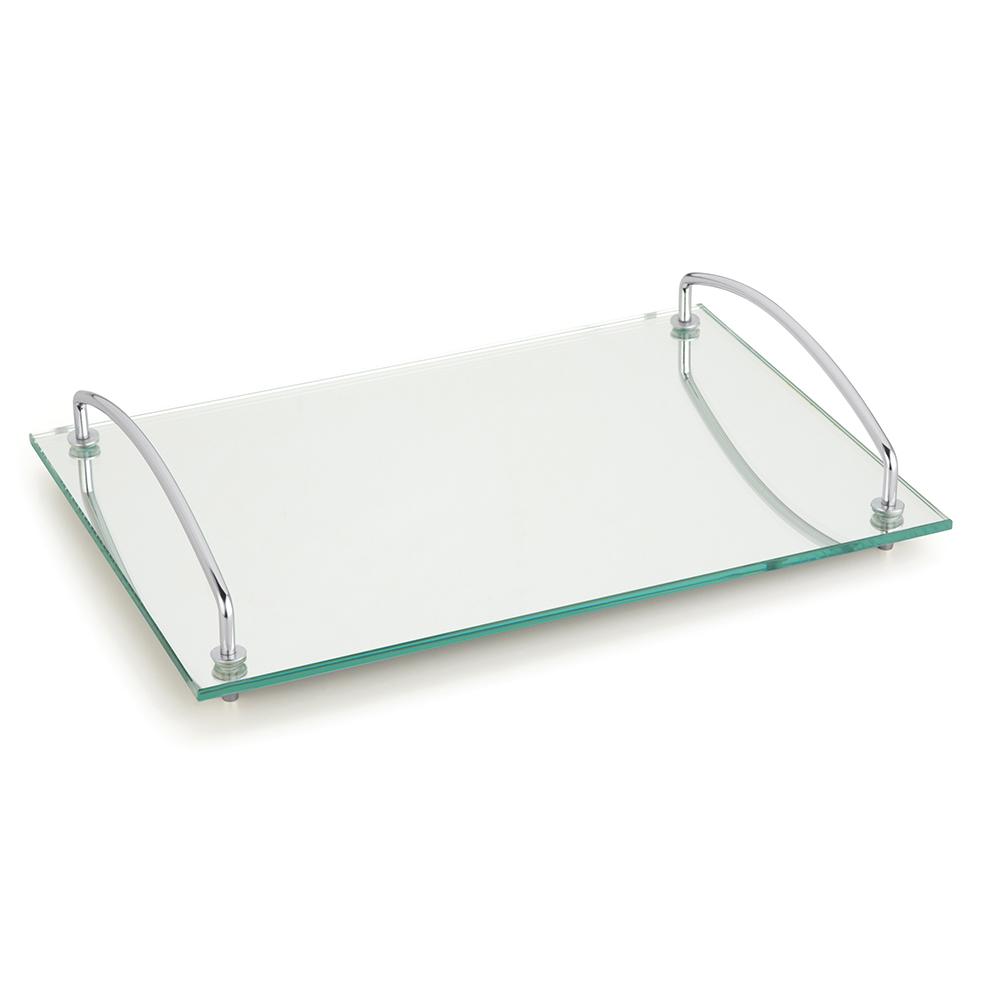 Bandeja Andrea 35x25 cm com Alças Vidro Tempado Espelhado Forma