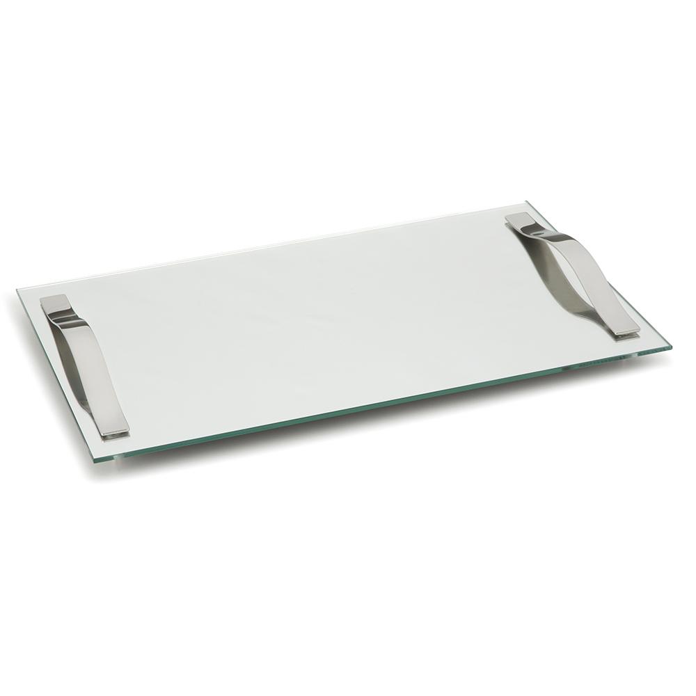 Bandeja Slim 40x25cm com Alças Vidro Temperado Espelhado
