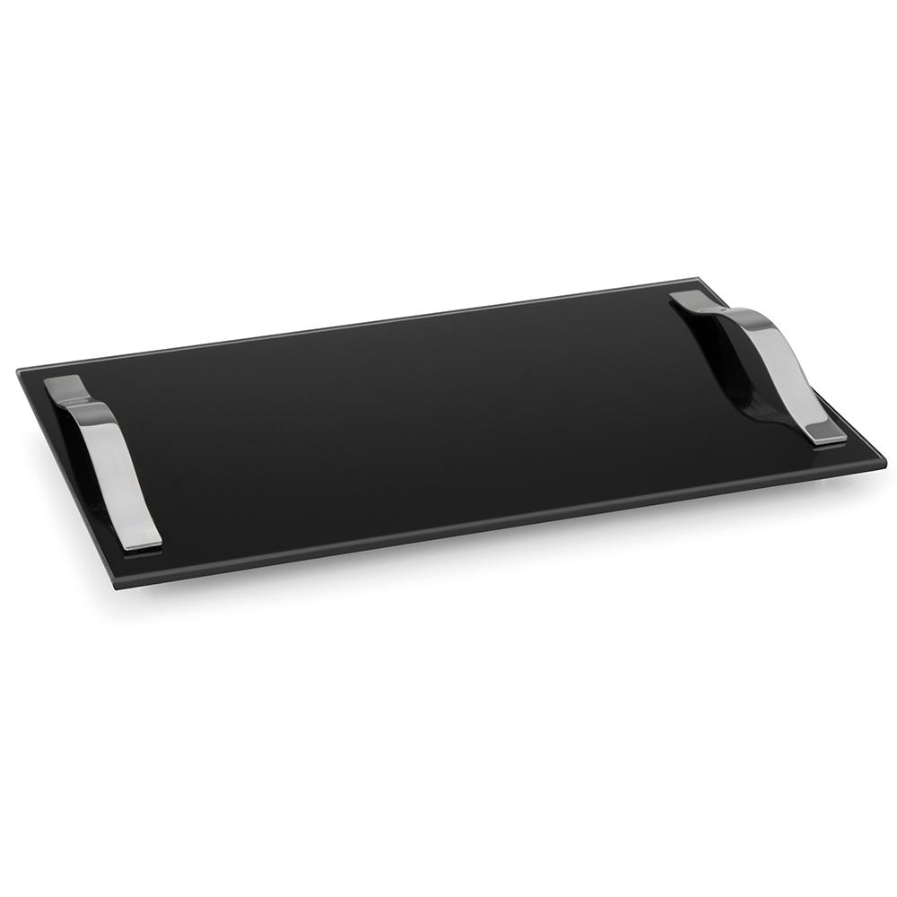 Bandeja Slim 40x25cm com Alças Vidro Temperado Preto Forma