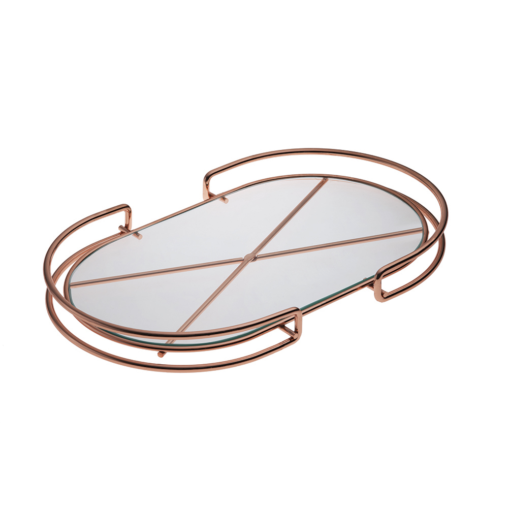 Bandeja Organizadora Oval de Aço Cobre com Base de Vidro Bakar Forma