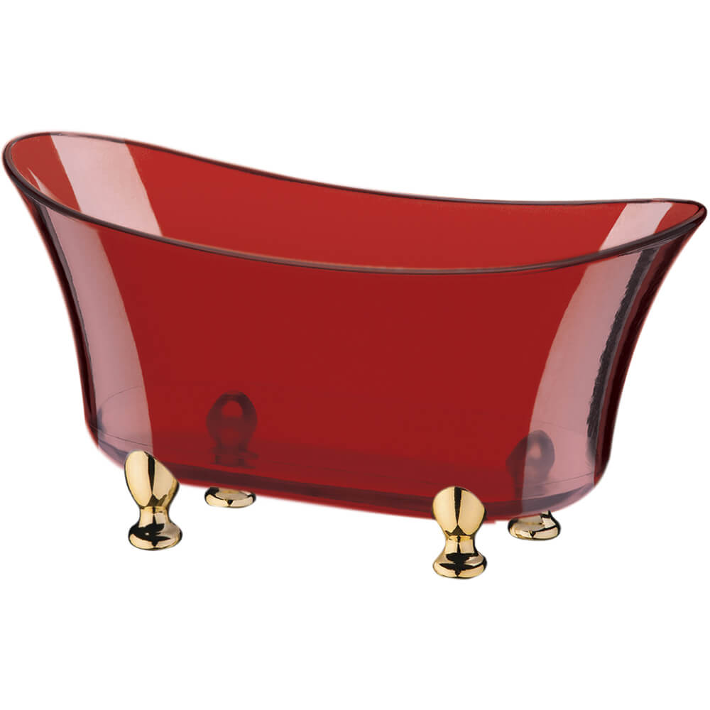 Banheira Beauty Vermelha Translúcida Poliestireno 500ml 19cm