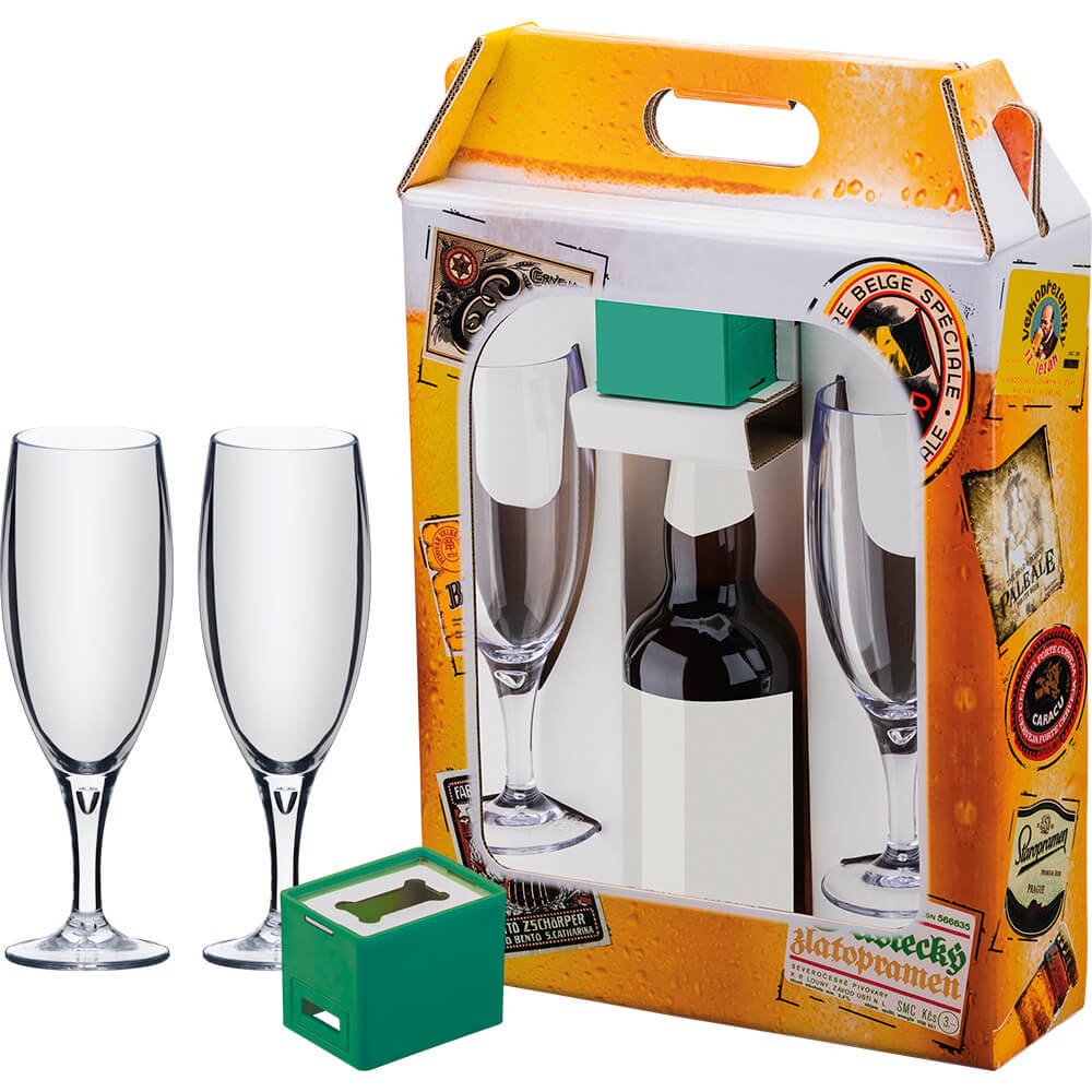 Kit Maleta Cerveja 2 Taças 250ml Poliestireno 1 Abridor ABS
