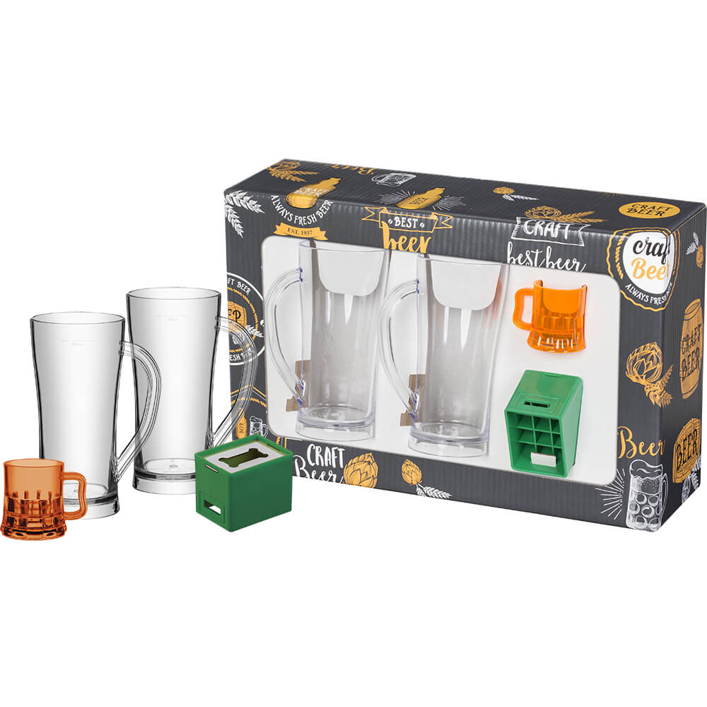 Kit Cerveja 2 Canecos 300ml 1 Abridor PS 1 Abridor ABS