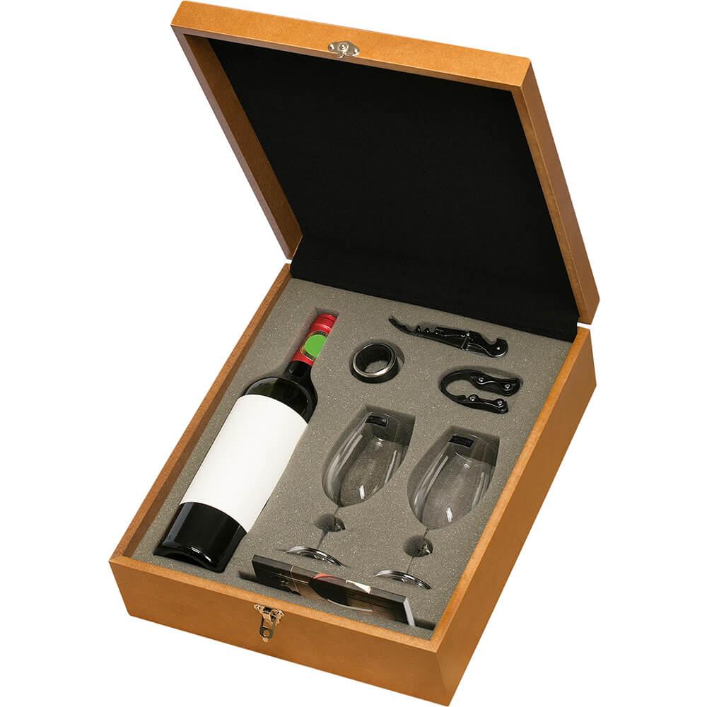 Caixa de Madeira MDF com Taças Vinho ISO Cristal e Acessórios