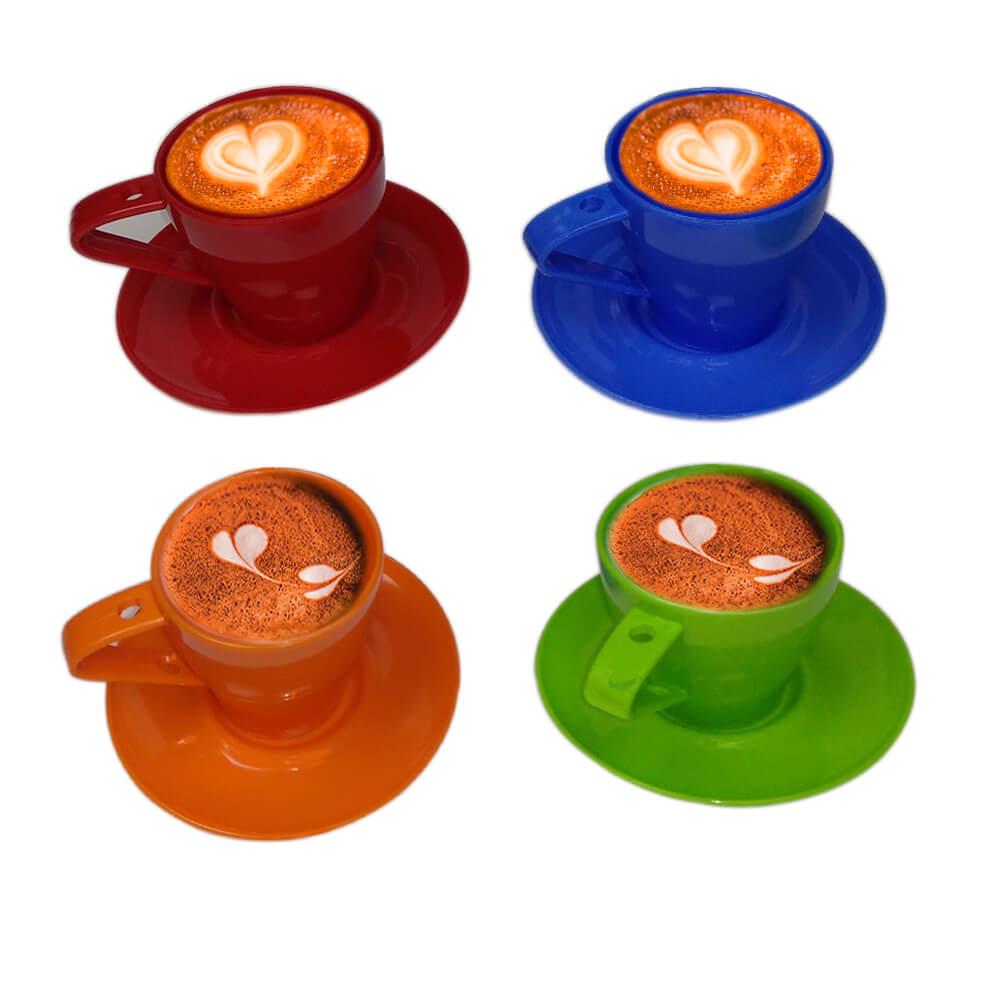 Kit Conjunto Casual Cafezinho 4 Xícaras e Pires Coloridos