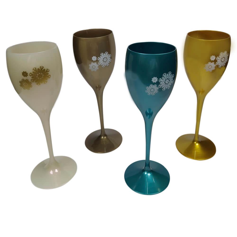 Kit Conjunto Mandalas Vinho 4 Taças Coloridas