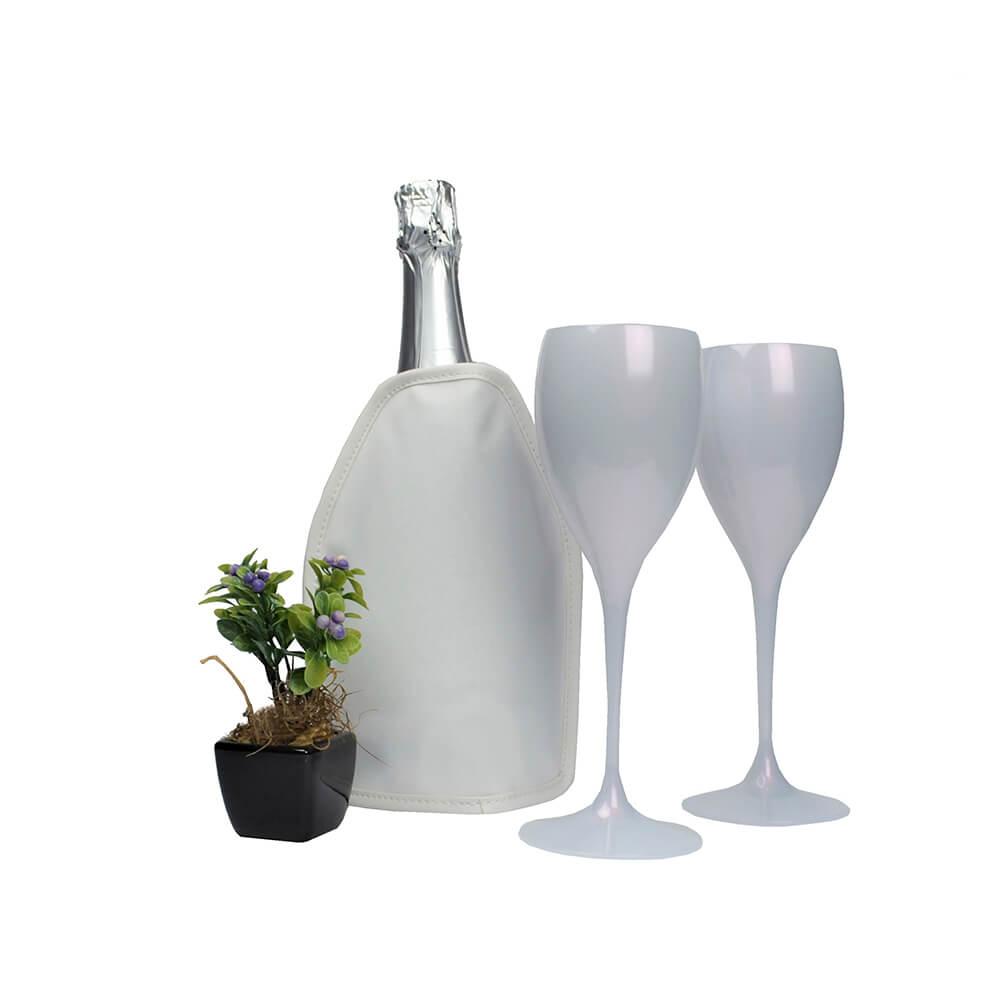 Jogo de Taças de Vinho e Cooler Térmico Branco com Gel