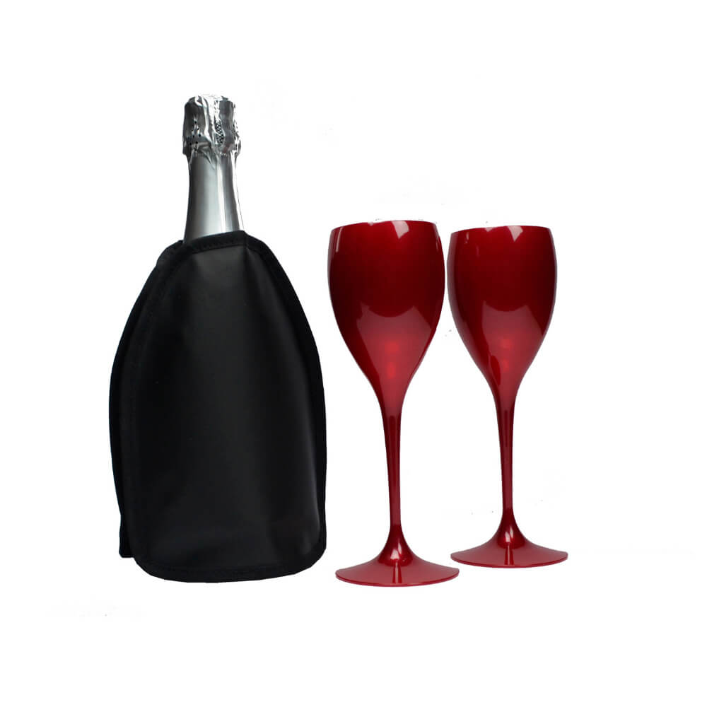 Jogo de Taças de Vinho e Cooler Térmico Preto com Gel