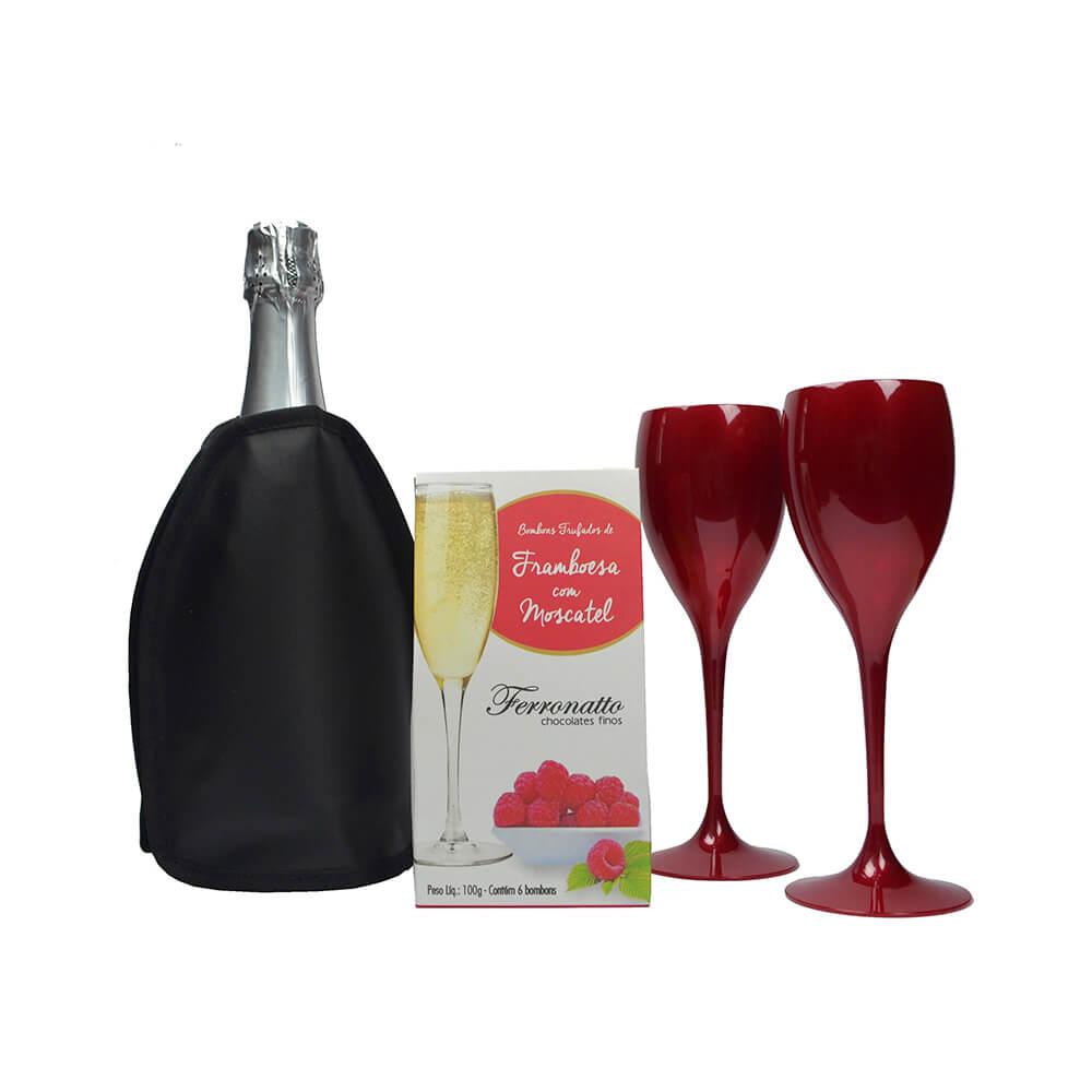 Jogo de Taças de Vinho e Cooler Térmico Preto com Gel e Bombons Trufados de Framboesa