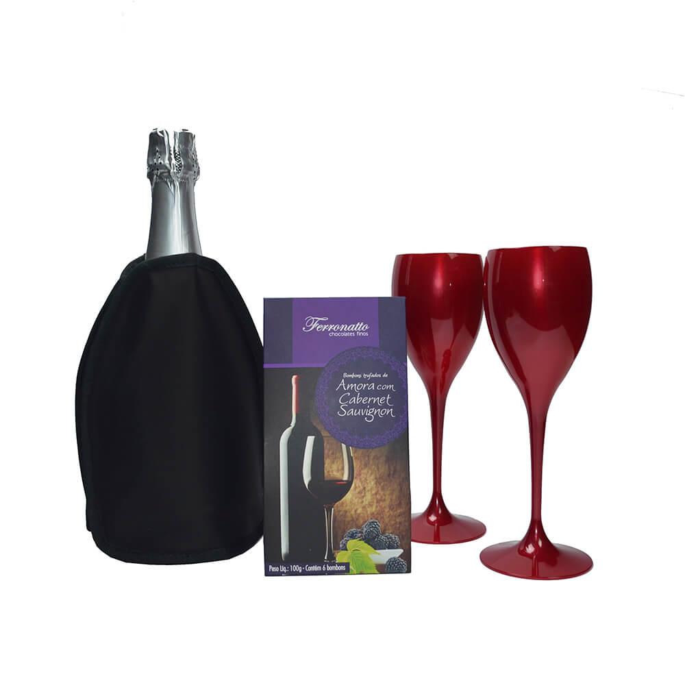 Jogo de Taças de Vinho e Cooler Térmico Preto com Gel e Bombons Trufados Amora Cabernet Sauvignon