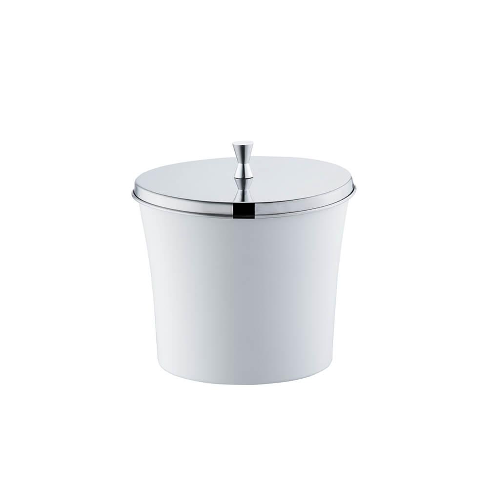Lixeira Banheiro Cozinha Branca 3 Litros com Tampa Aço Inox