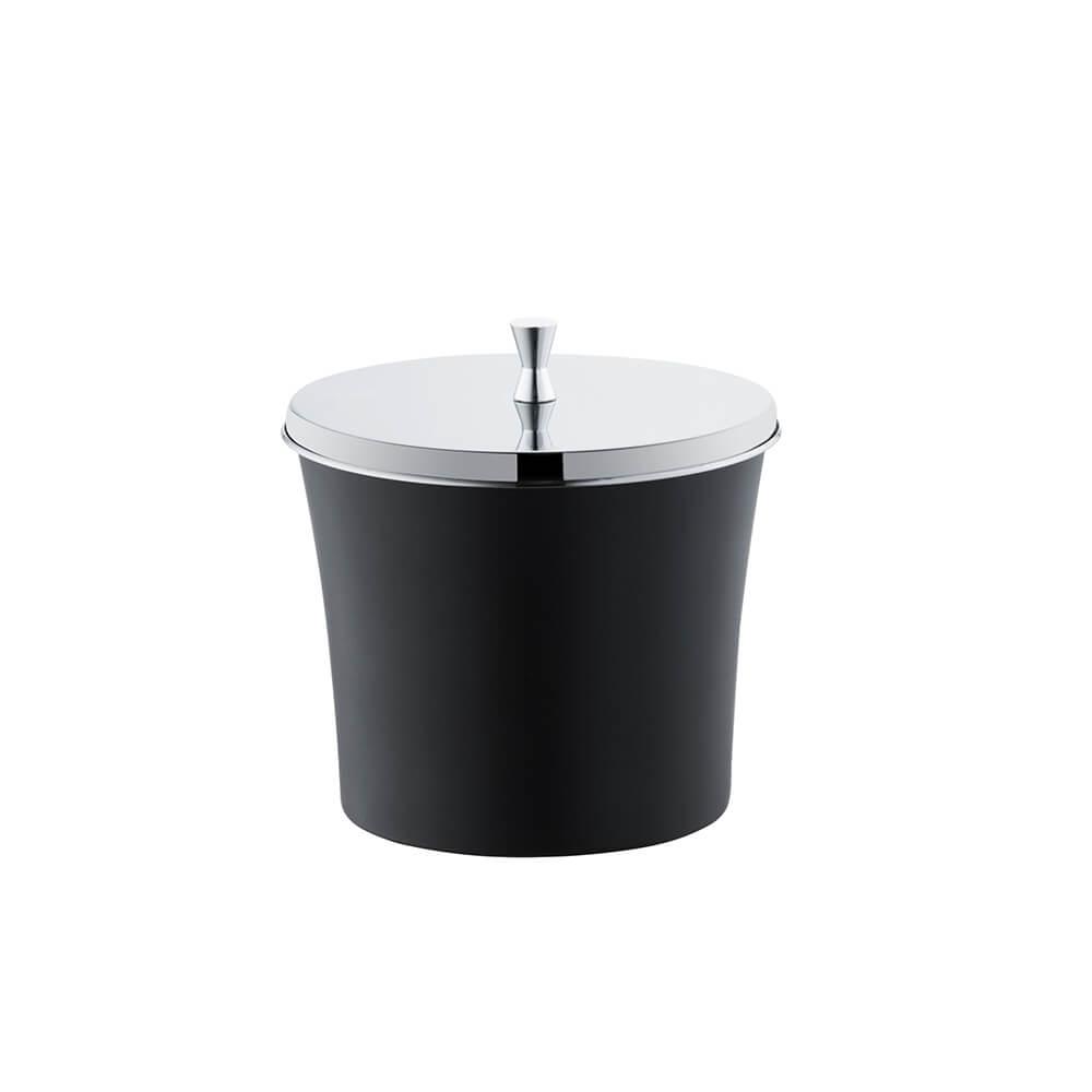 Lixeira Banheiro Cozinha Preta 3 Litros com Tampa Aço Inox