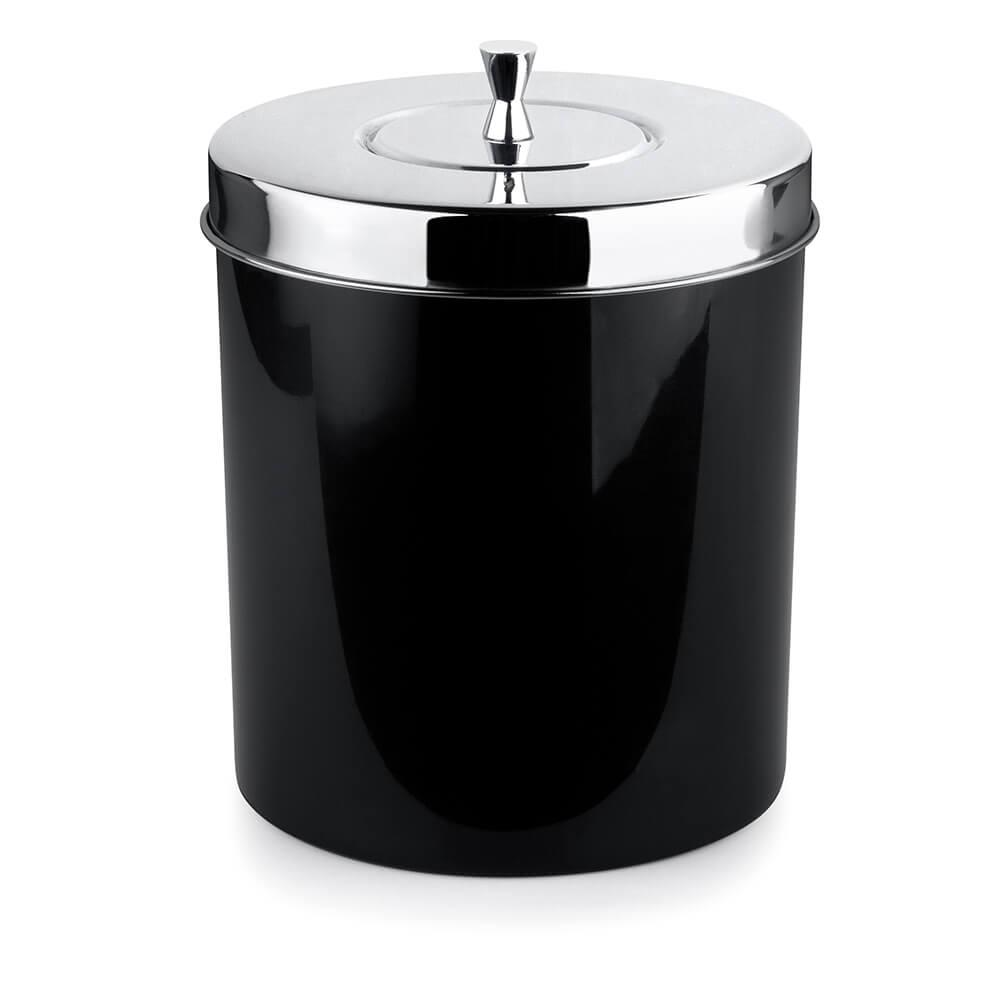 Lixeira Banheiro Cozinha Preta 5 Litros com Tampa Aço Inox