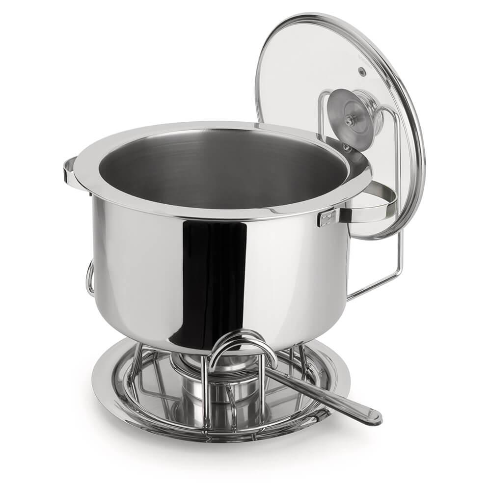 Réchaud Banho Maria Bowl Aço Inox Tampa de Vidro 8,2 Litros