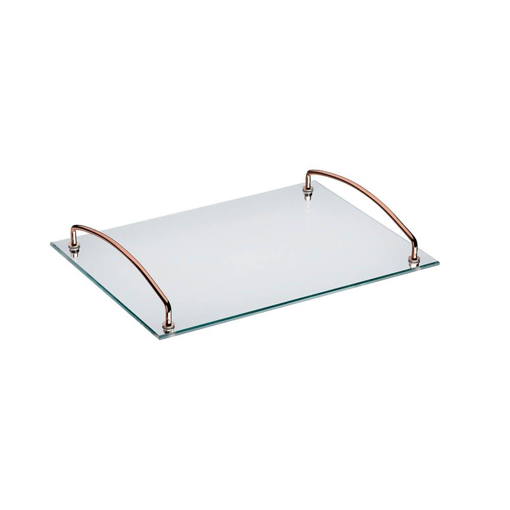 Bandeja Andrea Cobre 35x25 cm com Alças Vidro Temperado