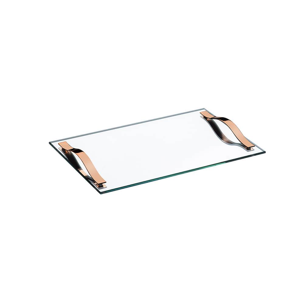 Bandeja Slim 40x25cm c/Alças Cobre Vidro Temperado Espelhado