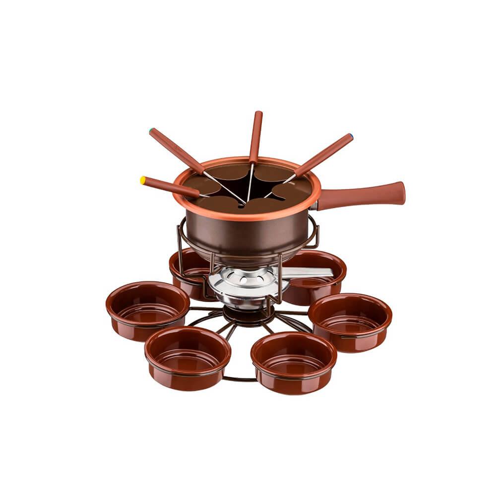 Kit Fondue Chocolate Antiaderente Carrousel 15 peças Pastilhas Álcool Sólido