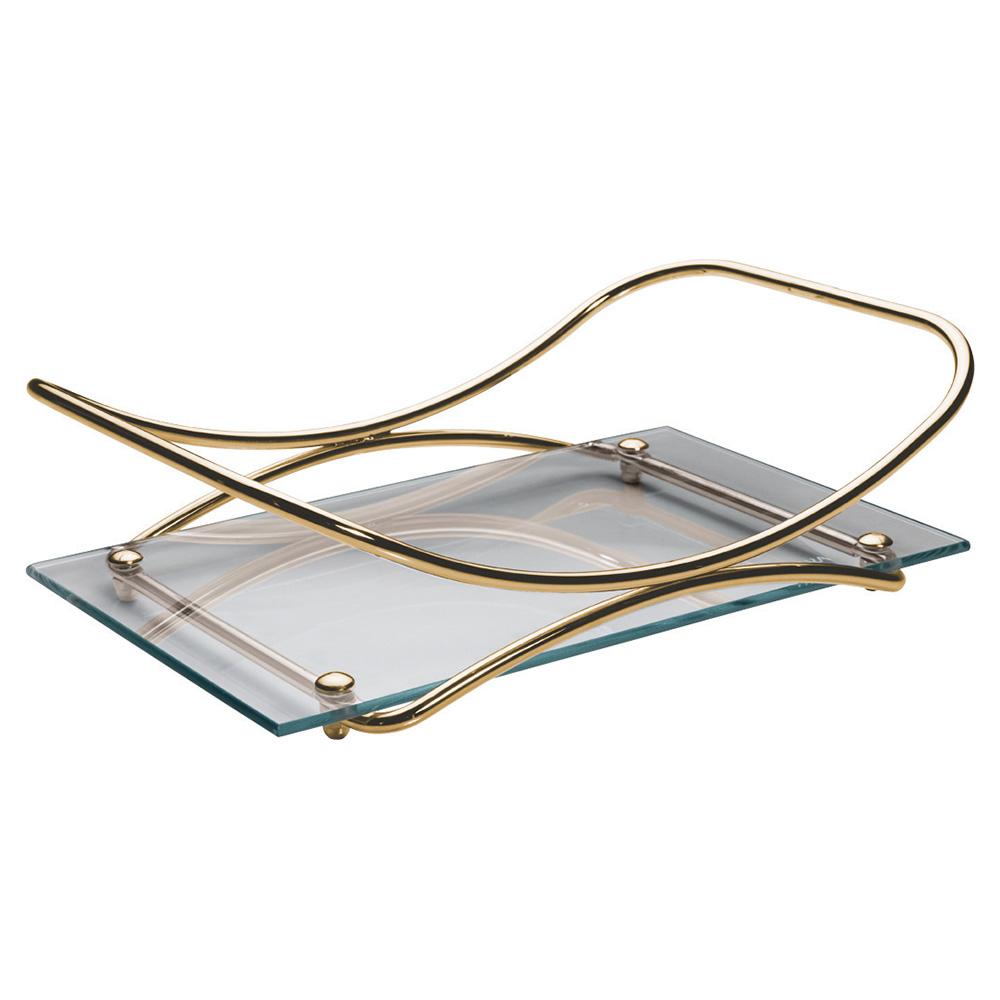 Bandeja Wings Inox Golden Vidro Incolor 30x40cm