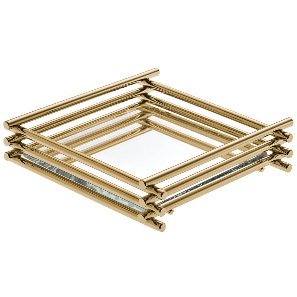 Bandeja Espelhada Wire Golden 10x20cm Retangular