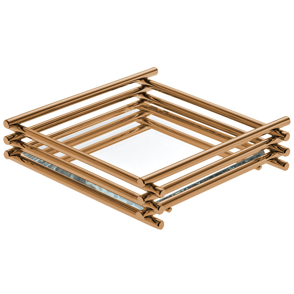 Bandeja Espelhada Wire Rosé Gold 10x20cm Retangular