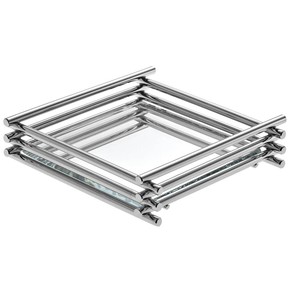 Bandeja Espelhada Wire Cromada 10x20cm Retangular