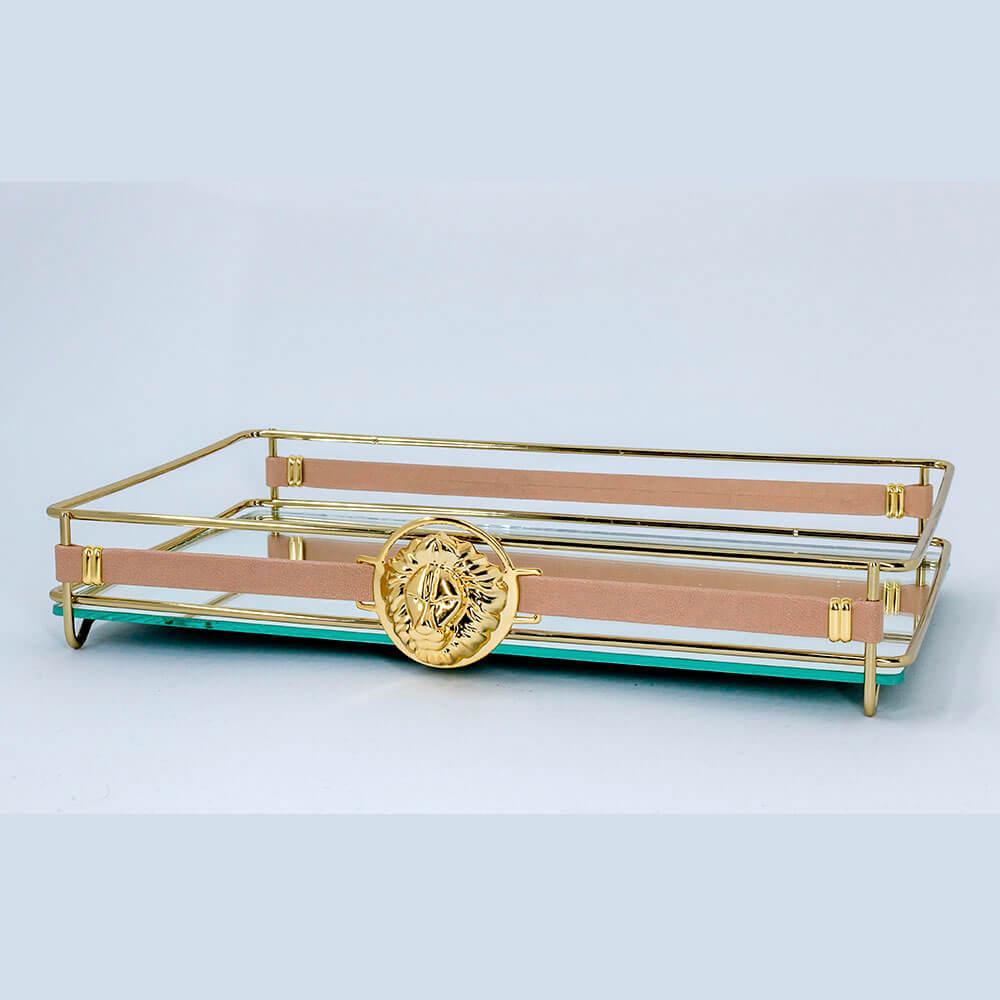 Bandeja Espelhada Fence Lyon Golden 15x25cm Retangular
