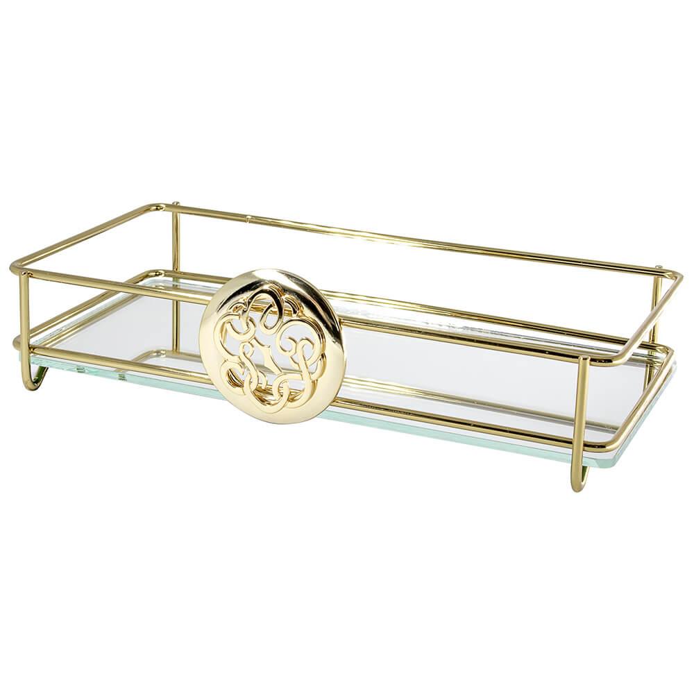 Bandeja Espelhada Fence Diva Golden 10x20cm Retangular