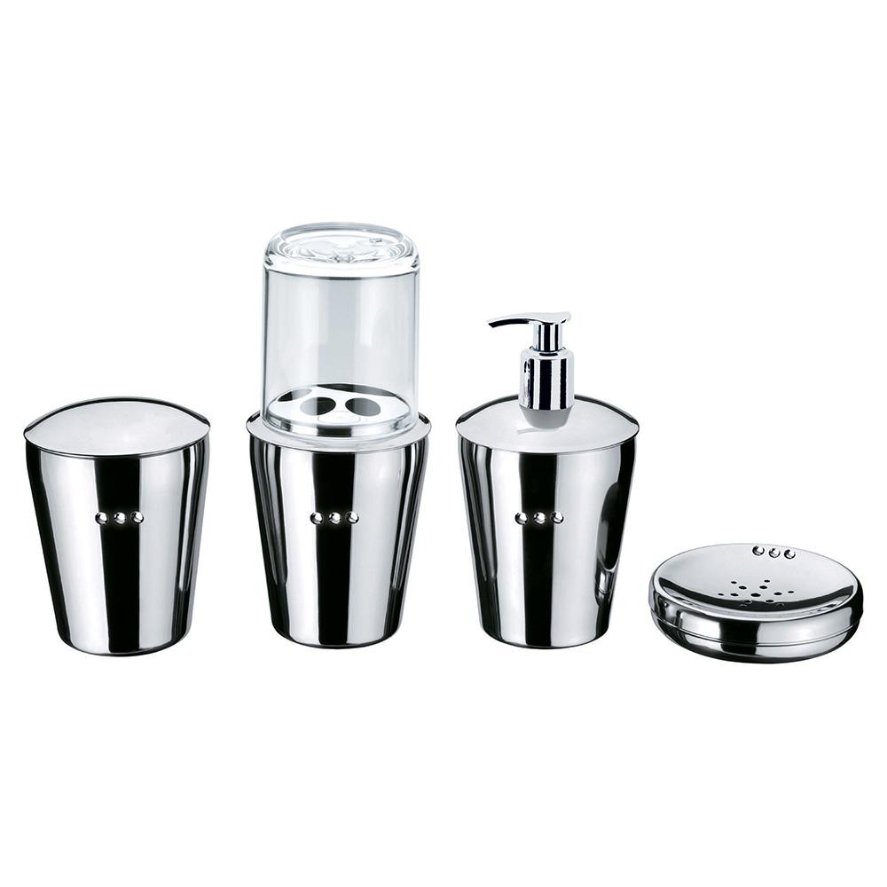 Conjunto Organizador Banheiro SPA Crystal Aço Inox 4 Peças